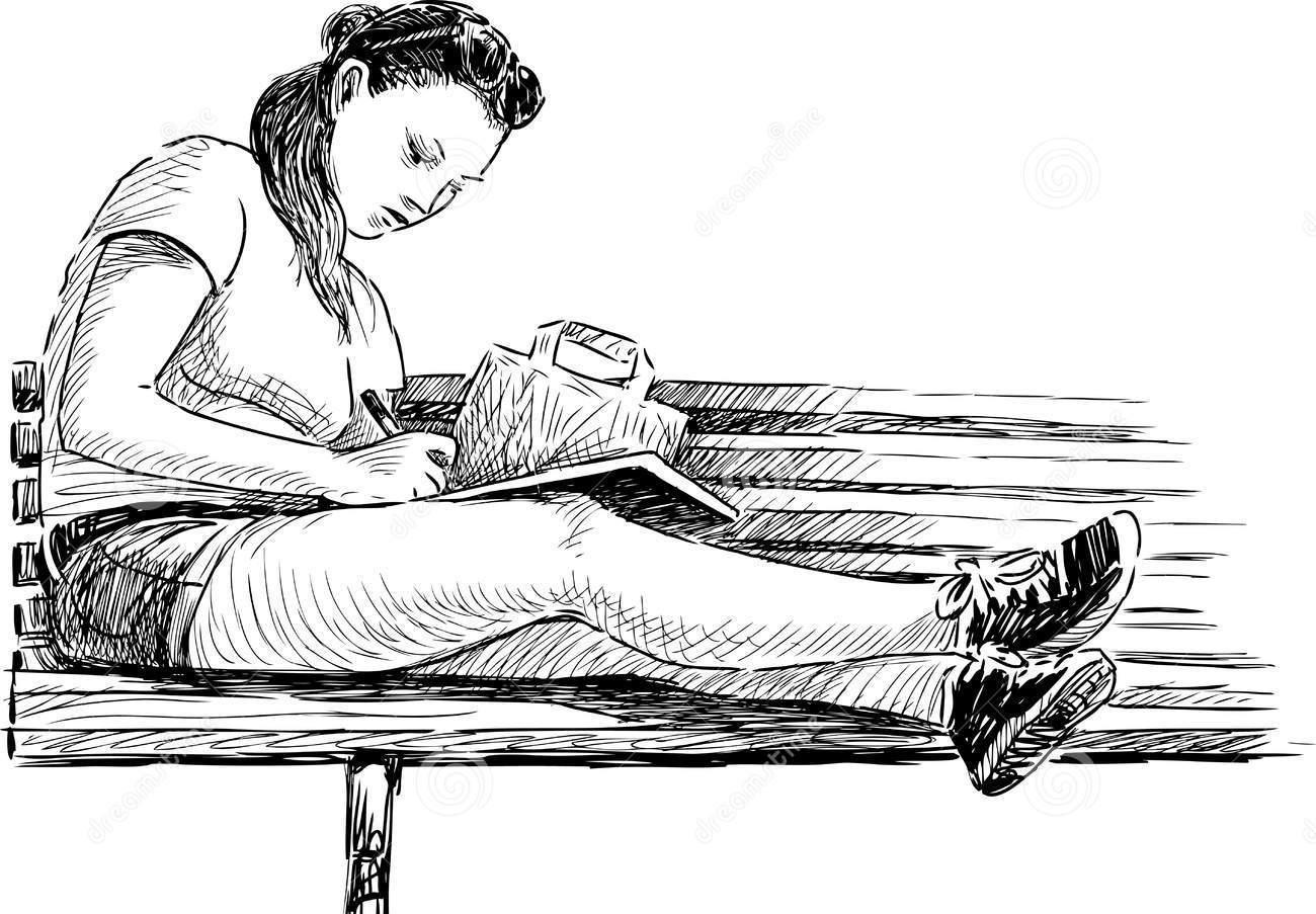 student-vector-drawing-girl-preparing-exam-43417706
